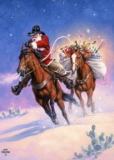 Santa's Big Ride    Look at the horses.  They trust Santa, but they sure are keeping a close eye on that weird bundle on the back of the second horse!!  See the ears??  Thank you, Jack Sorenson Fine Art, Inc.!!!