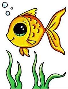 how to draw cute animals Cute Easy Drawings, Fish Drawings, Cute Animal Drawings, Disney Drawings, Cartoon Drawings, Easy Fish Drawing, Fish Drawing For Kids, Kawaii Girl Drawings, Cute Girl Drawing