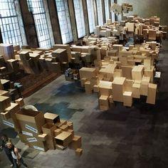 "Apparently this is literally called ""cardboard cloud installation"" http://www.dezeen.com/2009/06/22/cardboard-cloud-installation-by-fantastic-norway/fantasticnorwayboxtop1.jpg"