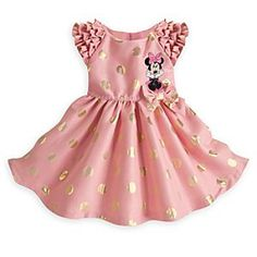 Disney Minnie Mouse Woven Party Dress for Girls | Disney StoreMinnie Mouse Woven Party Dress for Girls - Your little Miss will be dressed to impress in Minnie's pretty pink party dress with glittering golden polka dots, ruffled wing sleeves, and layered tulle underskirts. Like Minnie, the memories will remain forever gold.