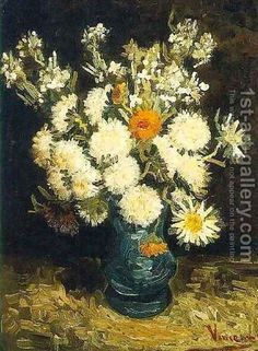 Hand painted reproduction of Flowers in a Blue Vase painting. This masterpiece was painted originally by Vincent Van Gogh. Commission your beautiful hand painted reproduction of Flowers in a Blue Vase. Vincent Van Gogh, Artist Van Gogh, Van Gogh Art, Monet, Picasso, Art Van, Flores Van Gogh, Van Gogh Flowers, Still Life Flowers
