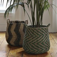 I love these rattan baskets for their Moroccan attitude and their instant ethnic style. Patterned Planter Baskets $99.00