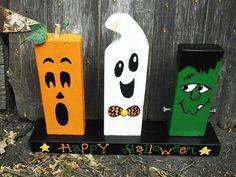 Halloween wood block decor