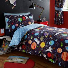 Blue Outer Space Bedding Twin or Full Duvet Cover Set Planets Rockets Navy Blue Reversible Stars King Duvet Cover Sets, Single Duvet Cover, Bed Duvet Covers, Duvet Sets, Bedroom Themes, Bedroom Decor, Bedroom Ideas, Kids Bedroom, Outer Space Bedroom