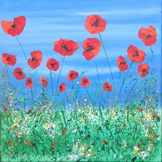 Tall Poppies. Acrylic on canvas. See more at https://www.artfinder.com/tina-hiles