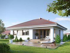Houses by Biuro Projektów MTM Styl - domywstylu. House Outside Design, House Front Design, Small House Design, One Level House Plans, Best House Plans, House Floor Plans, Bungalow Haus Design, Modern Bungalow House, House Design Pictures