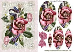 ROSE ARRANGEMENT WITH PEARLS ON VINTAGE LACE PYRAMIDS on Craftsuprint - Add To Basket!