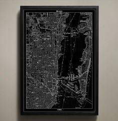 Another Miami map   Late 20s apartment love   Pinterest   Miami     MIAMI Map Print  Neighborhood map poster