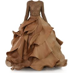 satinee.polyvore.com - Stephane Rolland Haute Couture 2015 ❤ liked on Polyvore featuring dresses, gowns, long dress, satinee, brown dresses, couture evening dresses, brown gown, brown evening gowns and couture ball gowns