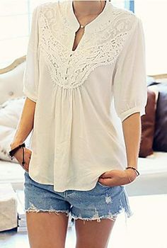 V Neck Embroidery Blouse