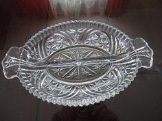 Vintage Pressed Glass Diamond Pattern Divided Celery Dish