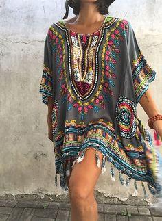 Rayon Color Block 3/4 Sleeves Mini Elegant Dresses