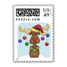 Christmas Reindeer Postage Stamps. Artwork designed by Ricaso_Occasions.