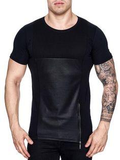 K&D Men Mesh Top Side Zipper T-shirt - Black