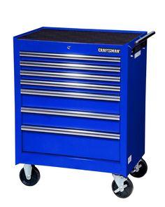 "Craftsman 27"" 7-Drawer Roller Cabinet Blue: Pro Tool Storage At Sears Wood Top Workbench, Rolling Workbench, Belt Storage, Tool Storage, Mobile Workbench, Tool Cart, Art Cart, Tool Steel, Tool Organization"