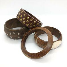 Wood Bangles x Four Retro Wooden Bracelets Boho Mod Rocker Indie Studded Chunky Bangles, Bracelets, Scandinavian Style, Rockabilly, Retro Vintage, Indie, Folk, Best Deals, Pretty