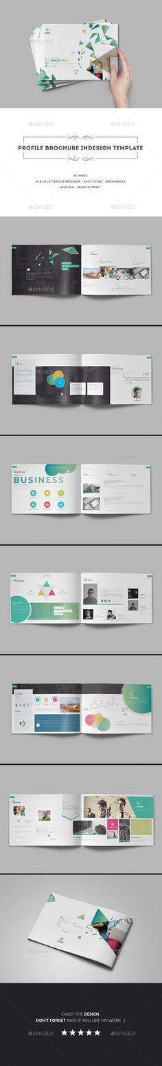 Profile Brochure Template InDesign INDD - 16 Pages, A4 & US Letter Size