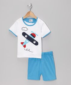 Take a look at this White & Blue Airplane Tee & Shorts - Infant by Abentiny on #zulily today!