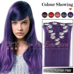 20 Inches 7pcs Clip-in Human Hair Extensions Straight Purple