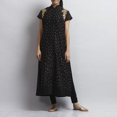 Black Front Open Chanderi Kurta with Gold Aari Zari Embroidery Kurta Designs Women, Indian Suits, Online Fashion Stores, Saree Wedding, Fashion Studio, Fashion Accessories, Short Sleeve Dresses, Womens Fashion, Embroidery