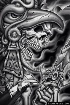 aztec art magezine | Tattoo Ideas, Aztec Warriors, Bones Art, Eagles Warriors, Aztec Eagles ...