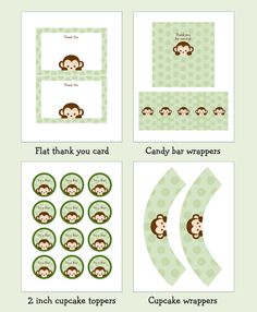 Monkey Baby Shower Party Pack INSTANT by LittlePrintsParties, $12.00