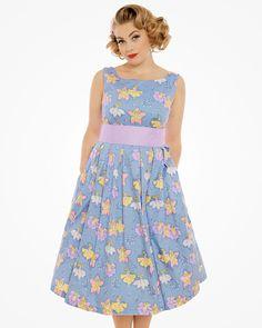 Lana Flower Fairy Print Swing Dress   Vintage Inspired Fashion   Lindy Bop