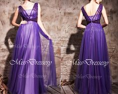 Straps V neck with Beading Purple Tulle Long Prom Dresses, Wedding Party Dress, Evening Dress, Formal Gown