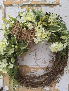 Spring Wreath, Everyday Wreath, Front Door Wreath, Easter Wreath, Year Round Wreath, Rustic Wreath This bright and airy wreath can be hung up on your door now and left up all through Summer. It is filled with beautiful greens, berries and silk flowers and completed with an open weave
