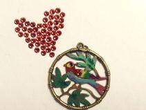gorgeous handpainted pendant with swarovski crystal