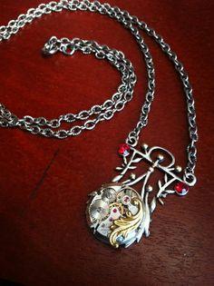 Steampunk necklace vintage watch 17 jewel artsy by KimsKreationsNC, $28.00