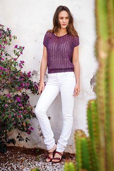 Lana Grossa KIMONOPULLI IM AJOURMUSTER Divino - FILATI No. 49 (Frühjahr/Sommer 2015) - Modell 49 | FILATI.cc WebShop