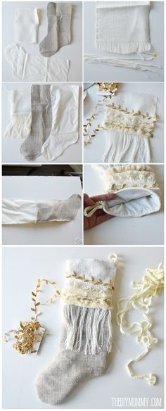 Anthropologie Inspired DIY Linen Burlap Christmas Stockings - Free Pattern & Tutorial by @thediymommy