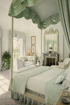 Bright, light, and breezy, yet completely elegant bedroom by Mark Hampton. This room overlooks the sea and that is reflected in the watery shades of blue and green used here. Simply beautiful.