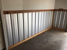 Sheet Metal Wall, Metal Wall Panel, Mobile Home Renovations, Remodeling Mobile Homes, Metal Garages, Garage Walls, Garage Interior, Pallet House, Basement Makeover