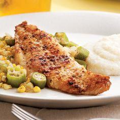Louisiana Catfish with Okra and Corn