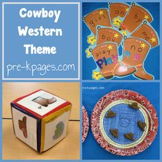 Western cowboy theme for Pre-K, Preschool and Kindergarten. Hands-on literacy and math activities, ideas, crafts and printables. Preschool Themes, Preschool Kindergarten, Classroom Themes, Preschool Activities, Cowboy Theme, Western Theme, Western Cowboy, Cowboy Boot, Wild West Theme