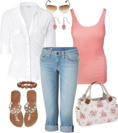 """""""White, Coral, and Brown"""" by fun-to-wear on Polyvore. Just swap out the accessories to a bright and shiny GOLD!"""