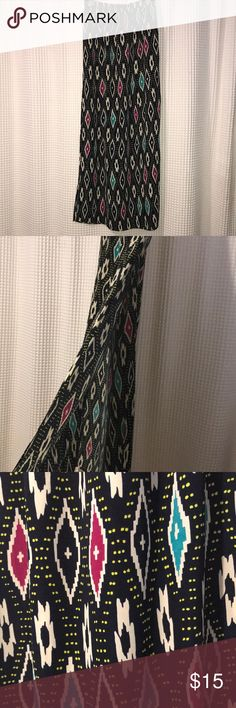 Aztec Maxi Skirt. Double side slits Super cute Aztec maxi skirt with high side thigh slits. EUC. Only worn a couple of times. Size large. Has small tears as shown in pictures. Not super noticeable Francesca's Collections Skirts Maxi