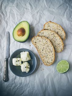 The perfect summer snack, avocado, goat cheese and lime on toast!
