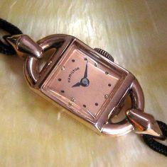 Ladies-MINT-1941-Hamilton-14K-SOLID-ROSE-GOLD-17j-Medallion-Art-Deco-Dress-Watch