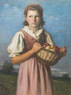 Girl Holding a Basket of Fruit | From a unique collection of figurative paintings at https://www.1stdibs.com/art/paintings/figurative-paintings/