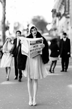 model poses at a fashion shoot inspired by the movie the artistfor madame figaromarch 2012 issue, paris, france, february 3, 2012 dress, h...