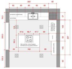 Plano de planta de distribución acotado del proyecto de una cocina #planos