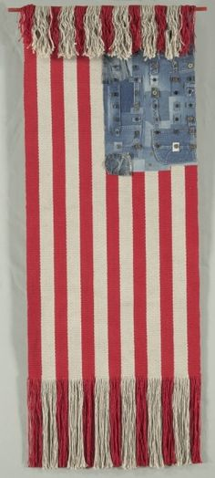 Untitled. Lenore Tawney. Date: 1974. Medium: linen, cotton, metal, wood; warp-faced plain weave with appliqued blue jean fragments and buttons.