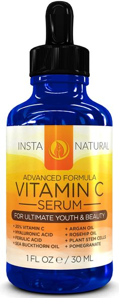 Vitamin C Serum For Face 20% - With Hyaluronic Acid, Ferulic Acid, Rosehip Oil, Seabuckthorn Oil, Plant Stem Cells, Vitamin E & More - Great For Anti-Aging & Anti-Wrinkle Facial Regimen - Helps Diminish Appearance of Fine Lines, Wrinkles, Sun Spots, Age Spots, & Skin Discoloration - Guaranteed Results