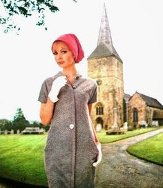 Sue Murray is wearing a softly shaped dress by Molyneux, velvet bonnet by Herbert Johnson. Vogue Pattern Book Autumn 1965