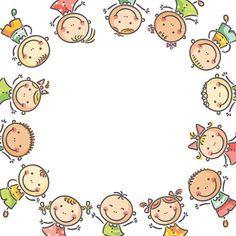 Crianças a Moldura - ilustração de arte vetorial
