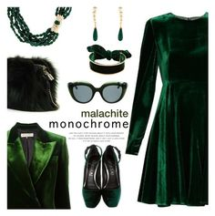 """Malachite monochrome"" by pensivepeacock ❤ liked on Polyvore featuring Sportmax, Kenneth Jay Lane, Aperlaï, Louis Vuitton, Emilio Pucci, E L L E R Y and Kate Spade"