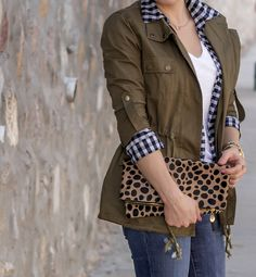 Military Style Cargo Coat, Gingham Print,  Leopard Clare V.  Fold Over Clutch, Cowgirl Booties via @Glamourzine